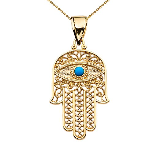 10k Yellow Gold Hamsa Hand With Blue Evil Eye Pendant Necklace