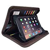 MSP Small Zippered Dark Brown Padfolio | Organizer with 8'' Silicone Tablet Sleeve, 5 Card & Photo Slots in Rich PU Leather (105-Brown) (Standard Brown)