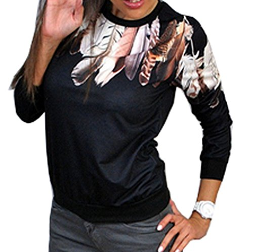 Felpe Maglietta Pullover Moda Lunga Primavera shirt Maglione A Donne Nero Rotondo Manica Autunno Tops Jumper Stampa Maglie E Casual Bluse Collo Monika T nIAqCS