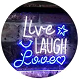 AdvpPro 2C Live Laugh Love Bedroom Display Gift Dual Color LED Neon Sign White & Blue 12'' x 8.5'' st6s32-i3082-wb