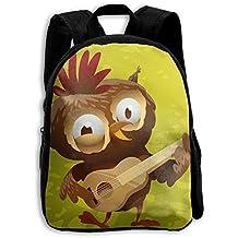 Funny Owl Cartoon Playing Guitar Printed Durable Kid's Mini Backpack