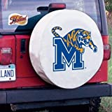 Memphis Tire Cover with Tigers Logo on White Vinyl Size: H2 - 35 x 12.5 Inch