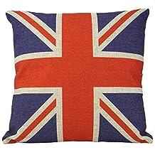 "Huacel Throw Pillow Case, Cotton Linen Square Decorative Throw Pillow Case Cushion Cover 18"" x 18"" British Vintage Style Union Jack Flag"