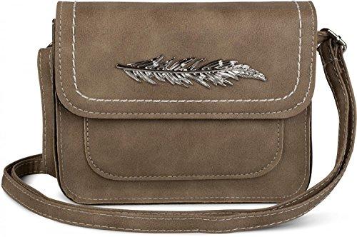 styleBREAKER petit sac à bandoulière avec plume en métal, sac à bandoulière, sac, femme 02012151, couleur:Bleu clair Marron