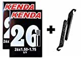 Kenda 26x1.5-1.75'' Bicycle Inner Tubes - 32mm Schrader Valve (2 Tubes & 2 Nylon Levers)