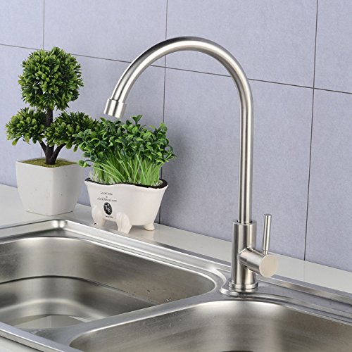 Commercial Single Lever Pull Down Kitchen Sink Faucet Brass Constructed Polished Stainless Steel Basin Faucet, Kitchen redating Faucet, Single Cold redating Hot and Cold Faucet