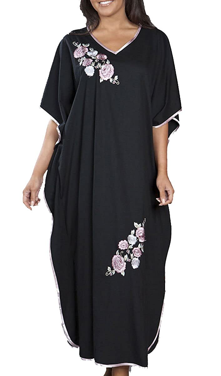 Jersey Embroidered One Size Satin Trim Kaftan in Black .