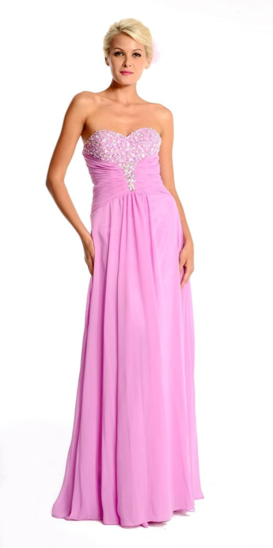 Amadeo Beading Strapless A Line Chiffon Pink Evening Dresses LF037