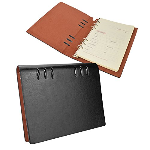 EsOffice Leather Notebook, Refillable Journal, Leather BinderDiary, 6 Ring Vintage Writing Notebook ,180 Lined Beige Pages, 5.8 x 8.2 Inches/A5 Size, Black