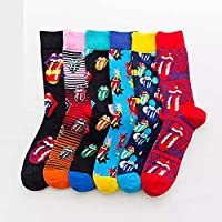 BeBold 4 Pairs gift Boxed Mens Rolling Stones Combed Cotton Socks Funny Fashion Casual Dress Socks Trend Hip Hop…