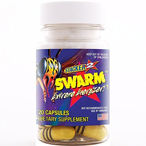Extreme 120 Capsules (Swarm Extreme Energizer 20ct (Lot of 6 X Bottles) = 120 Capsules by Stacker)