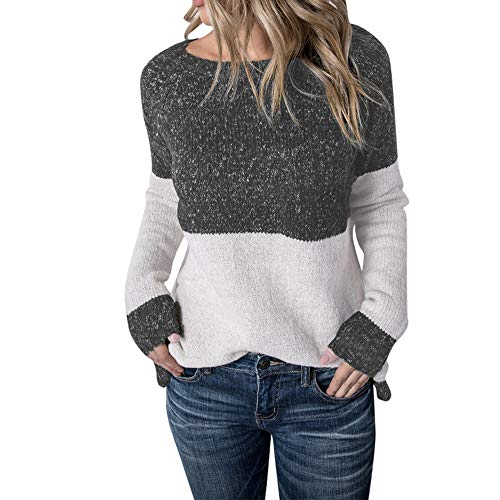 HYIRI ✈Elegant Women's Calsual Color Collision Knitting Sweater Blouse