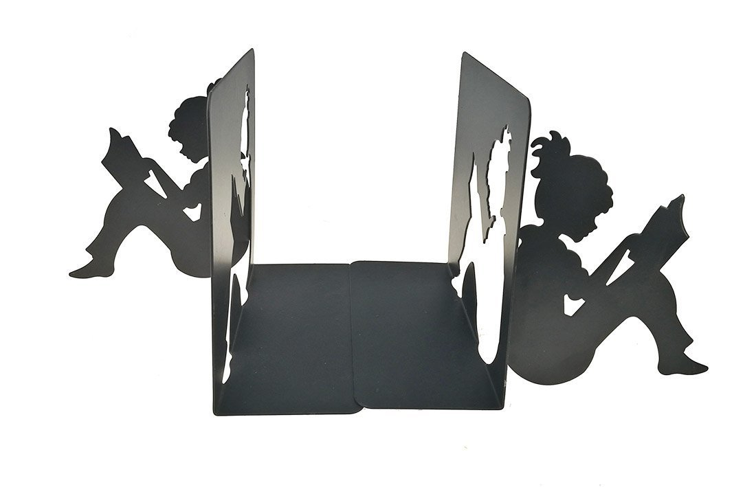 Black 3D Paper-Cut Little Girl is Reading Metal Bookends Book Ends for Kids