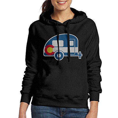 Grhoodie1 Colorado Flag Camper Women's Cotton Long Sleeve Pullover Hooded Sweatshirt Black Size L
