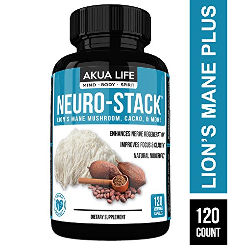 Neuro Stack - Lion's Mane Capsules -1400mg- Plus-21-Additional- Nootropic Stack - Cacao, Bacopa, Ginkgo, Rhodiola - Brain Support Supplement, Brain Booster, Lion's Mane, Lion's Mane Mushroom Capsules by Akua Life
