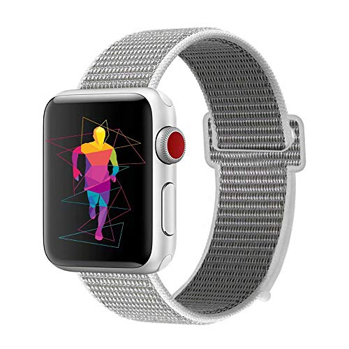 Light Three Seashell - INTENY Sport Band Compatible with Apple Watch 40mm, Soft Lightweight Breathable Nylon Sport Loop, Strap Replacement for iWatch Series 4, Series 3, Series 2, Series 1 (Seashell, 40mm)