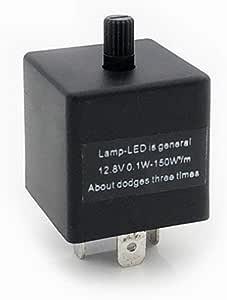 duhe189014 Rel/é de Flash electr/ónico LED de 3 Pines 12V CF13 JL-02 KT rel/é de Flash Ajustable para la direcci/ón del autom/óvil Regulable Signo