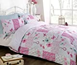 Art Pink Patchwork Single Duvet Cover and Pillowcase Bed Set, Polycotton, Pink