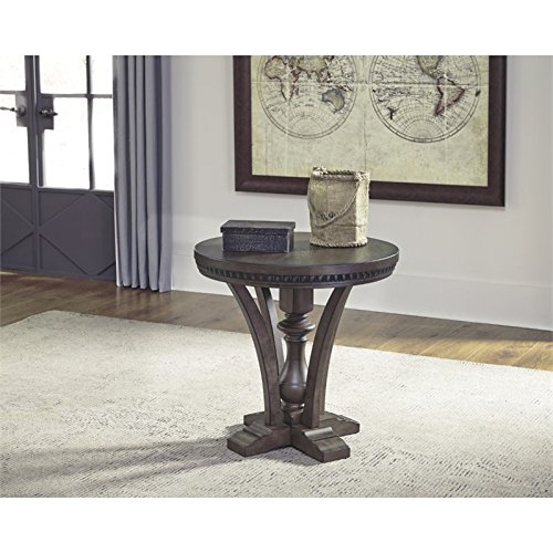 Ashley Larrenton Round End Table in Grayish Brown