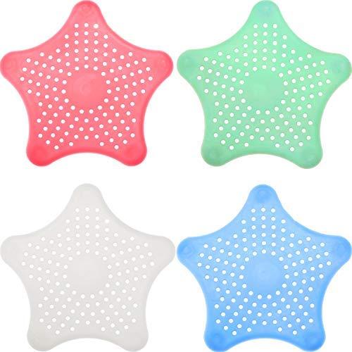 Lvcky - Tapó n de desagü e para bañ era, 8 Piezas, con Forma de Estrella de mar, tapó n de Goma para bañ era, 4 Colores tapón de Goma para bañera