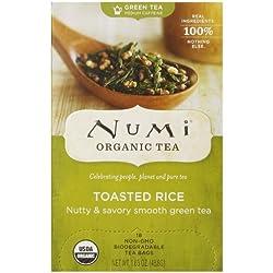 Numi Organic Tea Toasted Rice, Full Leaf Sencha Green Tea, 1.65 Ounce non-GMO Tea Bags