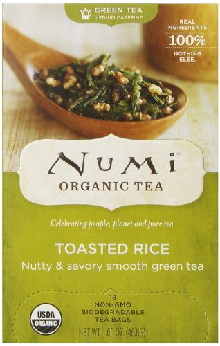 Numi Organic Tea Toasted Rice, Full Leaf Sencha Green Tea, 1.65 Ounce non-GMO Tea Bags