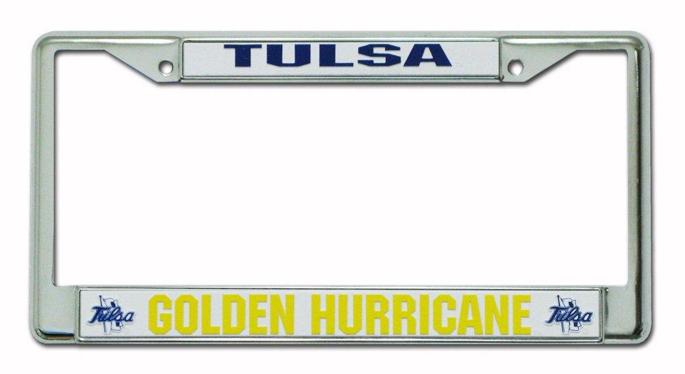 FC230110 Rico Industries NCAA Tulsa Golden Hurricanes Standard Chrome License Plate Frame Inc