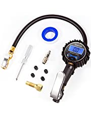 AstroAI Digital Tyre Inflator with Pressure Gauge, 0.1 Display Resolution 250 PSI Air Chuck and Compressor Accessories Heavy Duty with Rubber Hose and Quick Connect Coupler, Black