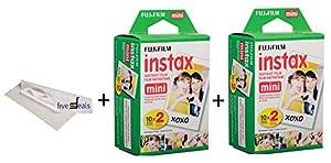 Fujifilm Instax Mini 9 Film Set of 2 Twin Packs = (40 sheets) Instax mini 9 film For Fuji Instant Camera + FREE Microfiber Cleaning Cloth