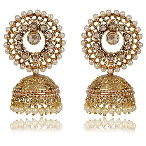 Shining Diva Fashion Latest Antique Gold Plated Traditional Pearl Jhumki Earrings for Women and Girls