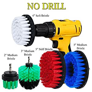 "HIFROM 5PCS 2"" 3"" 4"" 5"" Drill Brush Soft Medium Stiff Bristle Scrub Attachments Cleaning Kit for Cleaning Glass Tile Flooring Bathrooms Tile Grout"