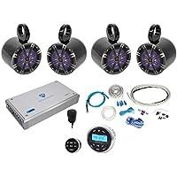 Rockville RGHR2 Bluetooth Receiver+Remote+(4) Kicker 6.5 LED Tower Speakers+Amp