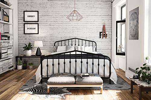 Novogratz Bushwick Metal Bed, Modern Design, Full Size - Black