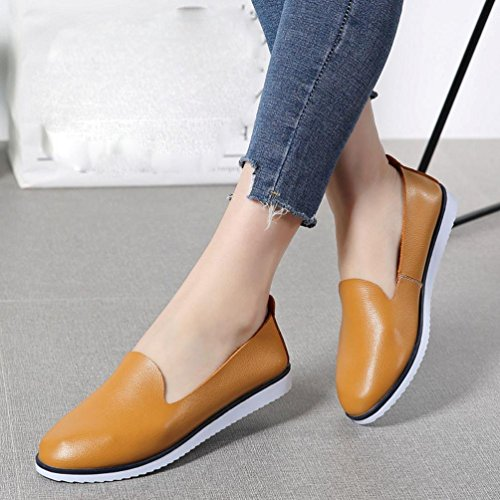 Women's Leather Flat Shoe Brown Leisure Slip On Flats Lazy Shoes Walking Comfortable Saingace 5OAgqdO