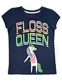 Novel Teez Designs Girls' Floss Queen Short Sleeve T-Shirt with Glitter