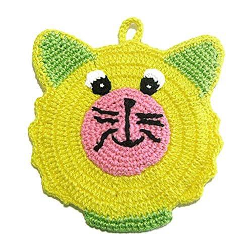 Agarradera de ganchillo en forma de oso amarilla y verde - Tamaño: 13 cm x 15 cm H - Handmade - ITALY