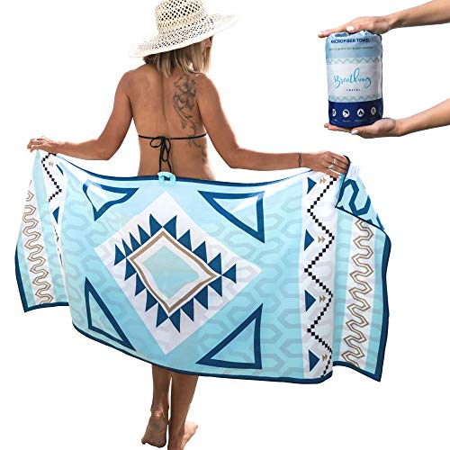 Breathing Travel Towel - Premium Quality Quick Dry Towel, Sand Free Beach Towel, Lightweight and Fast Drying Towel Perfect As Swim Towel, Gym Towel, Yoga Towel, Travel Towel & Microfiber Beach Towel
