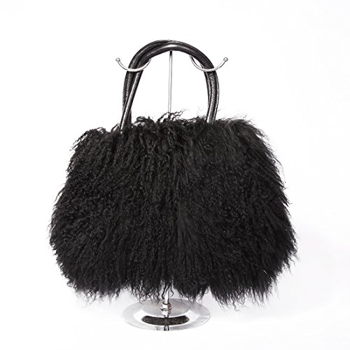URSFUR donna in pelliccia di agnello, Borsa Messenger a tracolla da donna in pelliccia di lana, Tote Bags nero