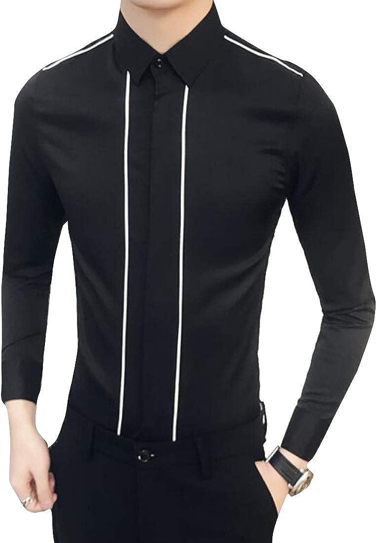 ARTFFEL Mens Lapel Striped Long Sleeve Formal Slim Fit Button Down Dress Work Shirt