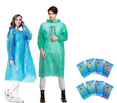 Rain Ponchos for Adults - QH Disposable Ponchos Portable Raincoat for Women - One Size Fit All - Rain Poncho with Hoods and Sleeves - 8 Pack