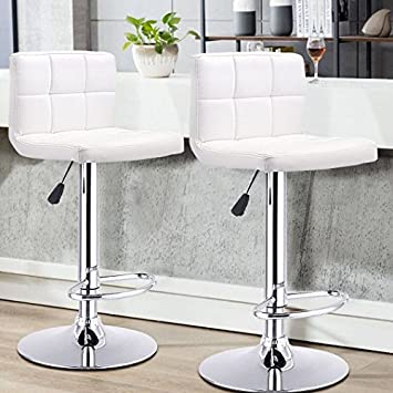 GentleShower Barstools, Set of 2 Modern Square Leather Adjustable Height Swivel Bar Stools Backrest White