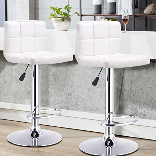 GentleShower Barstools, Set of 2 Modern Square Leather Adjustable Height Swivel Bar Stools with Backrest White Review