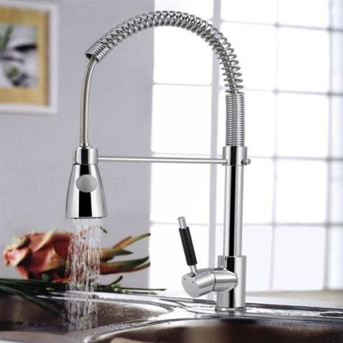 Chrome Classic Centerset (Kitchen Sink Chrome Single Handle Mixer Tap Swivel Pull Out Spray Faucet Spout)