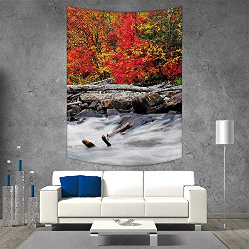smallbeefly Driftwood Customed Widened Tapestry A Raft Driftwood Lies a Rushing Rocky Stream Autumn Season Forest Digital Image Wall Hanging Tapestry 40W x 60L INCH -