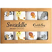 Muslin Baby Swaddle Blankets -  Safari Friends  - 4 Pack - CuddleBug 47 x 47 inch Large Muslin Swaddles - Soft Cotton Blankets - Baby Shower Gift - Perfect for Nursery Sets - Unisex