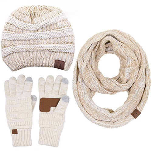 ScarvesMe CC 3pc Set Trendy Warm Chunky Soft Stretch Cable Knit Beanie Scarves Gloves Set (Metallic Ivory -