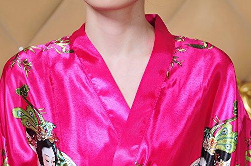 Unique Nuit Rouge robe Kimono Avec Acvip Guitare Vêtement Taille Elégant Chinoise Motif chemise 4 Couleurs Ceinture Femme De Court Rose CqwHwTX