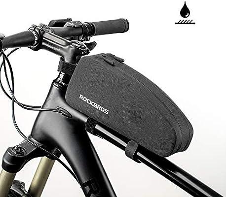 ROCKBROS Bolsa Cuadro de Manillar Tubo Superior Impermeable Capacidad 1L/1,6L para Bicicletas MTB Bici de Carretera Bici Plegable Negro (1L(Doble Cremallera)): Amazon.es: Deportes y aire libre