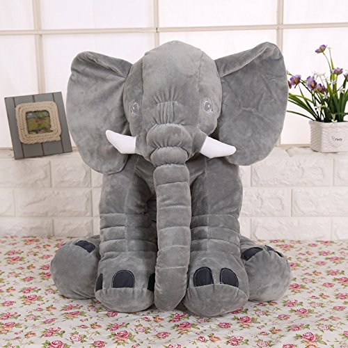 KiKi Monkey 24 inch Large Elephant Pillow Toys Baby Toddler Kids (gray)