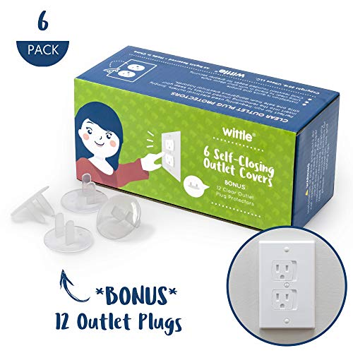 - Wittle Self Closing Outlet Covers (6 White) Plus 12 Clear Plug Cover Outlet Protectors - Baby Proofing Outlets with Electrical Child Safety Kit